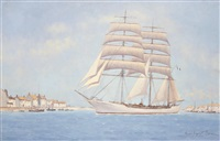 clipper in a french harbour by hugh boycott-brown
