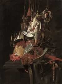 still life of a dead pheasant and other birds by jan weenix