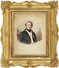 a) sitzporträt von dr. friedrich edler von pflügl, hof- und gerichtsadvokat in linz (1784 - 1860) b) sitzporträt von aloisia eiböck (eibegger) (1794 - 1878), gattin von dr. friedrich edler von pflügl (2 works) by eleonore (lory) auegg-dilg