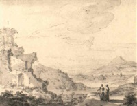a panoramic italianate landscape with ruins and figures by zacharias blyhooft