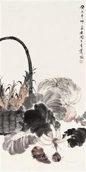鲜蔬图 镜片 设色纸本 ( vegetable) by wu qingxia