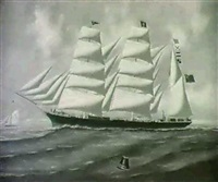 the three-masteed barque caroline orris by h. versaille