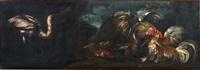 natura morta con due galli che combattono, pesci ed airone in un paesaggio; natura morta... (2 opere) by giovanni agostino (abate) cassana
