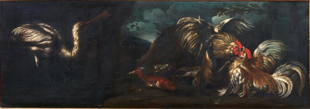 natura morta con due galli che combattono pesci ed airone in un paesaggio natura morta 2 opere by giovanni agostino abate cassana