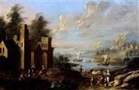 paysage flamand animé de nombreux villageois by mathys balen