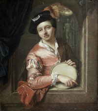 a young boy holding a tambourine, at an arch by arnold boonen