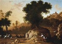 a rocky landscape with hunters attacking a boar, a hilltop town beyond by francisco collantes
