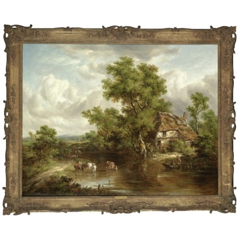 a cottage with figures and livestock by a river surrey by richard h hilder