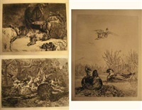 canards sauvages (+ pies sous; 2 works) by jules (joseph augustin) laurens