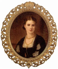 portrait of mrs. benjamin charles stephenson in a black dress with lace trim and amber necklace by kate perugini