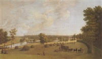 a view of a country house, possibly tapeley park in the county of devonshire, the seat pf john clevland, esq by peltro william tomkins