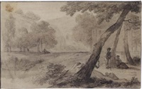 arcadian landscape with a couple resting by a tree, ruins and a waterfall behind by hendrick van der straaten