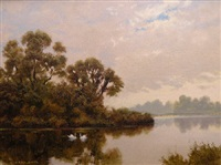 lake reflections and calm water (pair) by gerald coulson
