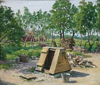 summer day in a garden with firewood near a farm by paul gustave fischer