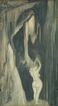 female nude at cave entrance by austin osman spare