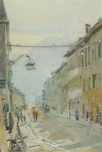 a continental street scene with figures (switzerland or northern italy?) by john william inchbold