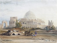 travellers before a mosque by thomas allom