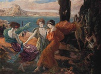 a classical idyll before an island, possibly capri by clovis cazes