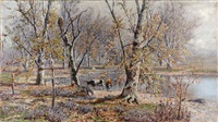 cows in an autumn landscape by thomas corwin lindsay