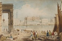 the grand canal from the dogana, venice (+ 4 other landscapes; 5 works by frederick mercer