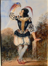 page en costume renaissance tenant un oiseau exotique (+ femme en costume historique dans un parc; pair) by jérome-martin langlois