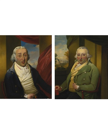 portraits of the american merchant samuel hart and his brother moses hart pair by richard livesay