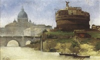 vue du château saint-ange by charles victor eugène lefebvre