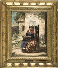 donna in costume seduta by françois frédéric grobon