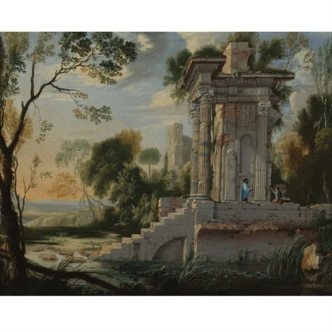 architectural capriccio with figures resting by pierre antoine patel