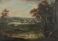 scène de chasse à courre devant le château de tervuren by peter tillemans