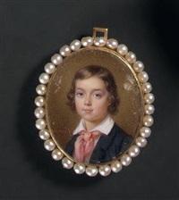 portrait d'un jeune garçon en veste bleue et foulard rose by francois meuret