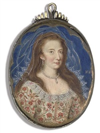 susanna temple, lady thornhurst, in multi-coloured floral and gold-embroidered white dress with lace collar by nicholas hilliard