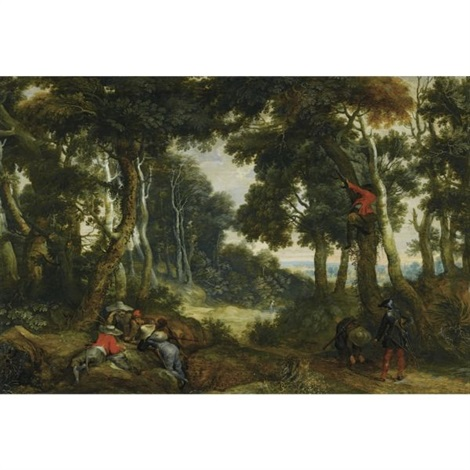 a wooded landscape with brigands playing dice another brigand up in a tree on the lookout by jan wildens