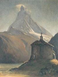 matterhorn mit schwarzsee-kapelle im mondschein by emil aufdenblatten