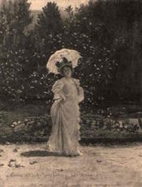 marie delna dans le jardin de rosebois by pierre paul léon glaize