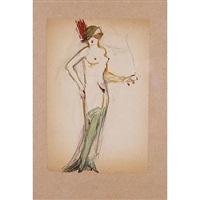 dama con medias verdes.c by ismael smith