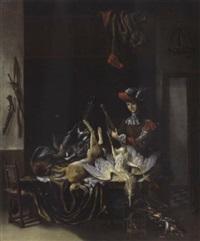 ein jäger mit seiner jagdbeute in seinem haus by jacobus biltius