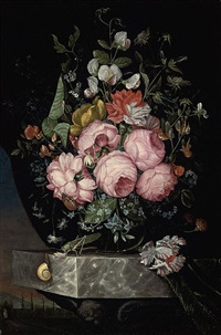 roses, a parrot tulip, carnations and other flowers in a glass vase on a marble ledge with a snail, a beetle and a cricket by ottmar elliger the elder