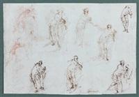 huit figures féminines en pied et deux personnages (study)(+ cinq anges et trois figures féminines en pied (study), verso) by giovanni mannozzi