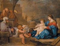 sainte famille avec sainte elisabeth et saint jean baptiste by sébastien bourdon