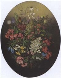 ein alpenblumenstrauß mit edelweiß und alpenrosen by theodor petter