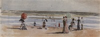 élégantes sur la plage by maurice lelievre