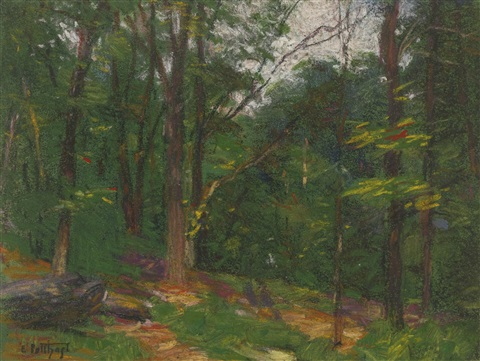 trees at the edge of a clearing by edward henry potthast