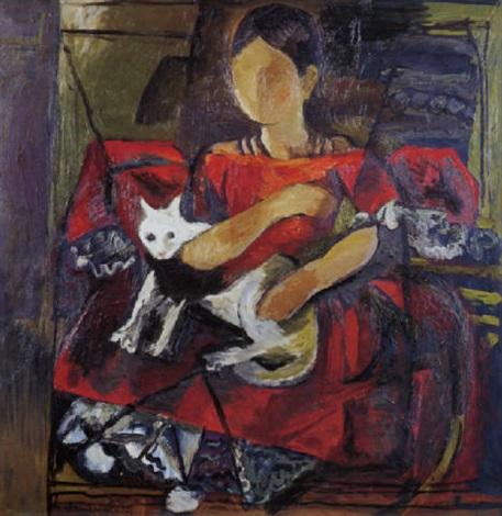woman with a cat by federico aguilar alcuaz