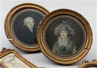 portraits d'homme et de dame en buste (2 works) by marie elénore godefroy