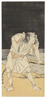 hoso-e. ganzfigürliche darstellung eines schauspielers mit gezogenem schwert bei nacht an einem see by katsukawa shunsho