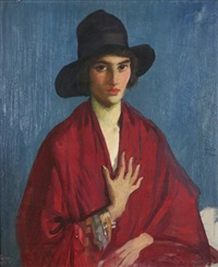 woman in a red dress and black hat by george lambert