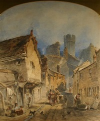 hole in the wall street, caernarfon with numerous figures, poultry, donkey etc by joseph josiah dodd