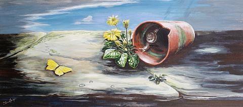 plant pot with snail by stuart m. armfield