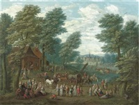 a wooded landscape with numerous peasants and carriages in an open clearing by flemish school-antwerp (18)